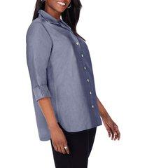 plus size women's foxcroft pandora non-iron tunic shirt, size 18w - blue