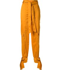 manning cartell high-waisted tie cuff trousers - yellow