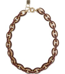 """laundry by shelli segal gold-tone pave & enamel chain link collar necklace, 16"""" + 2"""" extender"""