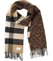 burberry tb half mega - reversible cashmere scarf with tartan and monogram pattern