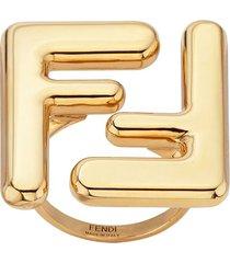 fendi maxi logo ring - gold