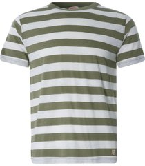 armor lux wide stripe heritage t-shirt | khaki/natural | 77345-gxg