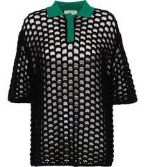 contrast collar chunky mesh knit polo top