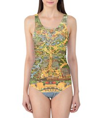 disneyland vintage map women's swimsuit