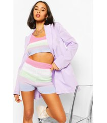 pastel stripe knit crop top, pink