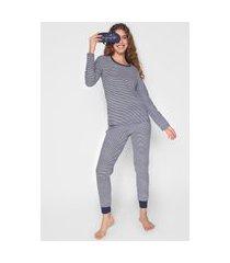 pijama malwee liberta listrado azul-marinho