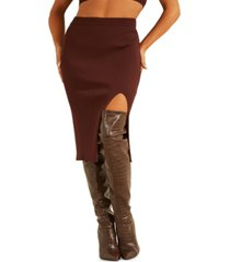 guess kalani thigh slit sweater midi skirt
