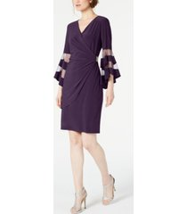 r & m richards petite illusion bell-sleeve dress