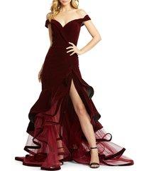 mac duggal women's tiered velvet trumpet gown - burgundy - size 16
