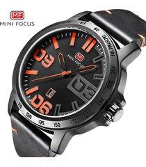 reloj para hombre/correa de piel/ mini focus / 0169g-naranja