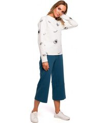 blouse moe m444 bedrukte top met lange mouwen - ecru
