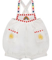 stella mccartney kids white babygirl rompers with colorful hearts