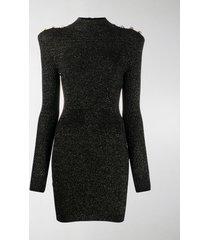 balmain metallic threading knitted dress