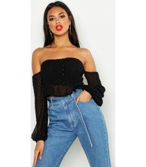 dobby spot off shoulder long sleeve crop top, black