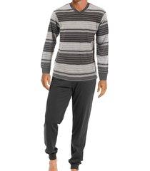 pastunette heren pyjama met v-hals grijs