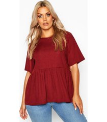 plus rib ruffle sleeve smock top