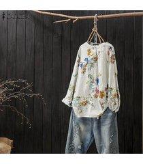zanzea botones con estampado floral camisa con cuello tops blusa holgada vintage informal -blanco