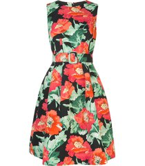 oscar de la renta poppy-print belted a-line dress - black