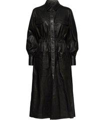 lily thin leather dress knälång klänning svart mdk / munderingskompagniet