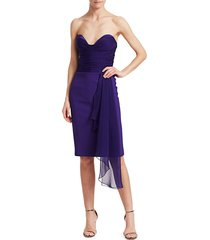 gustavo cadile women's strapless ruched bustier dress - purple - size 6
