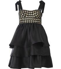 diella dress in gold/black check