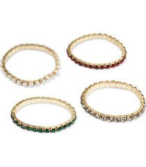 inc gold-tone 4-pc. set green-red rhinestone & imitation pearl stretch bracelets, created for macy's
