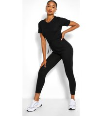 soft rib elastic waist jogger jumpsuit, black