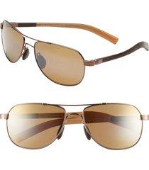 maui jim maui flex polarizedplus(r)2 56mm aviator sunglasses in copper/brown/tan at nordstrom