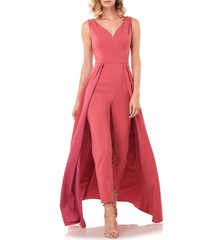 women's kay unger avery maxi romper, size 10 - pink