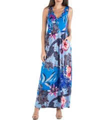 24seven comfort apparel paisley floral sleeveless maxi dress with pocket det