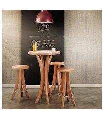 conjunto mesa bar tampo de madeira com 3 banquetas - natural