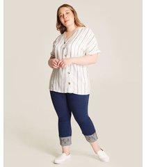 blusa estampada rayas manga corta