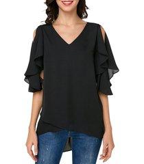 cutout butterfly sleeve asymmetrical chiffon blouse