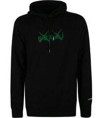 sacai logo print hoodie