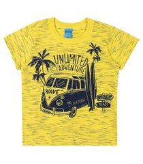 camiseta bito primeiros passos em meia malha alto veráo amarelo claro