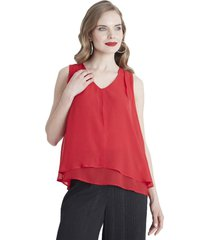 blusa sin mangas escote v rojo lorenzo di pontti