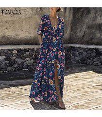 zanzea mujeres maxi beach party largo vestido de tirantes club del coctel de vacaciones vestido floral -azul marino
