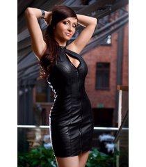 soleil by xxx collection zwart leren jurk met rits aan de voorkant