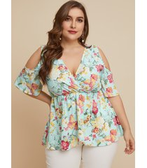 yoins plus talla abrigo con estampado floral y hombros descubiertos diseño blusa de media manga