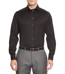 men's big & tall eton contemporary fit twill dress shirt, size 18.5 - black