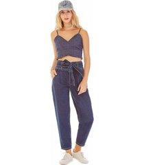 top zinco cropped alca com pregas jeans