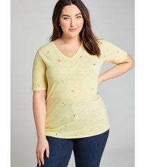 lane bryant women's perfect sleeve v-neck tee 14/16 summer pineapples