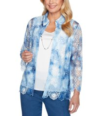 alfred dunner pearls of wisdom layered-look tie-dye necklace top