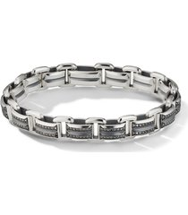 david yurman 7.5mm beveled link diamond bracelet - silver