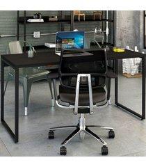 mesa para escritório kuadra ônix 139 - compace