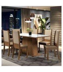 conjunto sala de jantar madesa emma mesa tampo de vidro com 6 cadeiras cor:rustic/branco/sintético bege