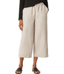 eileen fisher crop wide leg pants, size large in khaki at nordstrom
