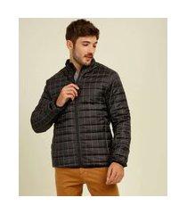 casaco masculino puffer capuz quadriculado marisa