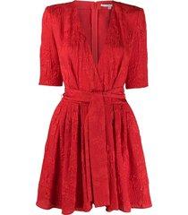stella mccartney floral jacquard belted playsuit - red