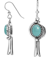 american west turquoise squash blossom earrings in sterling silver